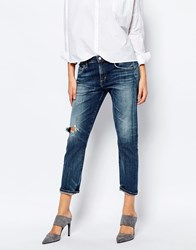 A Gold E Isabel Slim Boyfriend Jeans With Distressing Blue
