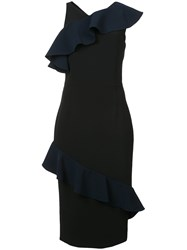 Christian Siriano Ruffle Trim Midi Dress Black