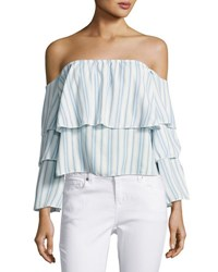 Vintage Havana Striped Three Tier Ruffled Off The Shoulder Top Blue
