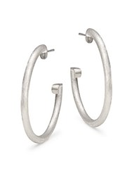 Jude Frances Matte Hoop Earrings 1.25 Silver