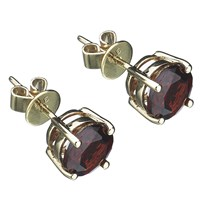 Ewa 9Ct Gold Garnet Stud Earrings Deep Red