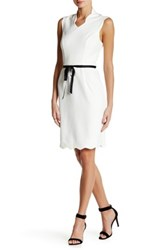 Alexia Admor Scallop V Neck Military Dress Beige