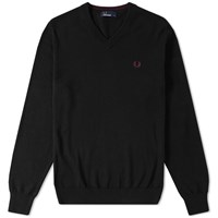 Fred Perry Classic Cotton V Neck Sweater Black