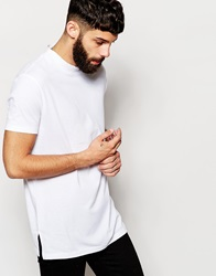 Asos Longline T Shirt With Turtle Neck In Relaxed Skater Fit White