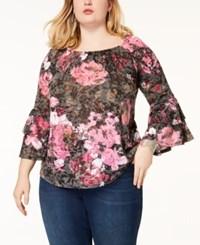 Inc International Concepts Plus Size Printed Ruffle Sleeve Top Created For Macy's Spring Breeze