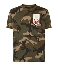 Valentino Army Patch Camo T Shirt Male Green
