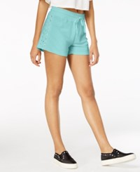 Material Girl Juniors' Lace Up Drawstring Waist Shorts Created For Macy's Key Largo Blue