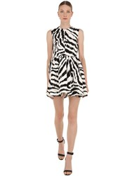 Msgm Zebra Print Cotton Blend Mini Dress Array 0X586bbb0
