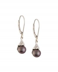 Belpearl Black Freshwater Pearl And Diamond Drop Earrings