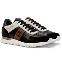 Fendi Leather And Suede Sneakers Black