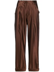 Tom Ford Silk High Waisted Trousers Brown