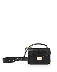 The Kooples Emily Croc Embossed Leather Mini Crossbody Black