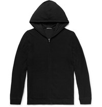 James Perse Waffle Knit Cotton Zip Up Hoodie Black