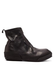 Guidi Horse Zip Grained Leather Boots Black