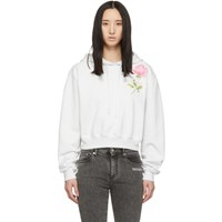 Off White Cropped Flowers Hoodie