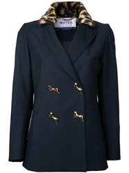 Muveil Leopard Collar Double Breasted Jacket Women Acrylic Polyester Rayon 40 Blue