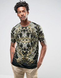 Asos Longline T Shirt With Sublimated Snake All Over Print Black Green