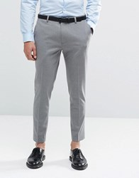 Asos Super Skinny Cropped Trousers In Grey Mid Gray