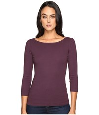 Three Dots 3 4 Sleeve British Tee Perfect Plum Women's Long Sleeve Pullover Purple