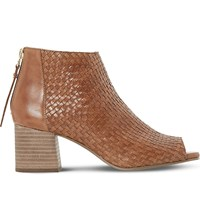 Dune Idoll Leather Heeled Ankle Boots Tan Leather