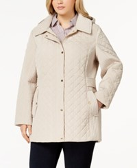 Jones New York Plus Size Hooded Quilted Coat Biscotti