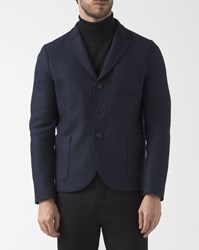 Harris Wharf London Stranded Blue Boiled Wool Unstructured Boxy Jacket