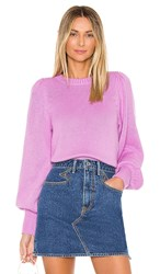 525 America Puff Sleeve Crew In Pink. Bright Orchid