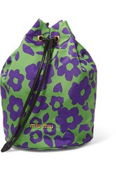 Miu Miu Leather Trimmed Floral Print Canvas Cosmetics Case Purple
