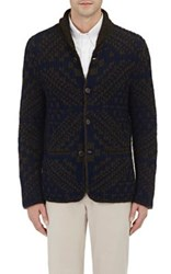 Zanone Men's Rib Knit Shawl Collar Cardigan Brown