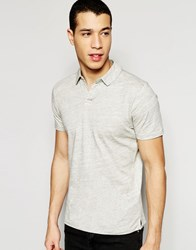 Selected Homme Polo Shirt With Split Neck Grey