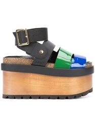 Sacai Pierre Hardy Colour Block Wedge Sandals Women Wood Leather Patent Leather Rubber 39 Black