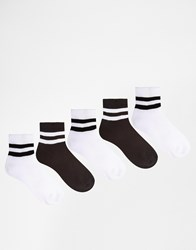Urban Eccentric Sports Style Crew Socks In 5 Pack Shorter Length Multi