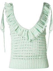 Philosophy Di Lorenzo Serafini Ruffle Trim Open Knit Top Women Cotton 42 Green