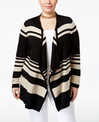 Jm Collection Plus Size Striped Open Front Cardigan Only At Macy's Black Stone Combo