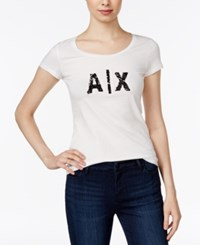Armani Exchange Sequin Logo T Shirt Solid White