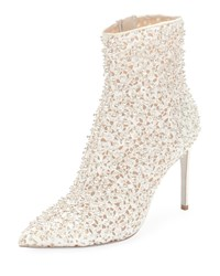 Rene Caovilla Embellished Bootie With Golden Beading White