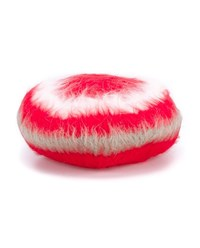 Gucci Striped Angora Blend Beret Red White Grey