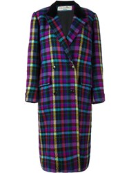 Christian Dior Vintage Checked Long Coat Multicolour