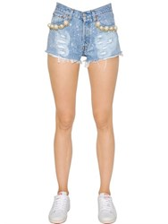 Forte Couture Embellished Cotton Denim Shorts