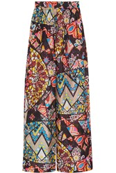 Emilio Pucci Printed Hammered Silk Wide Leg Pants