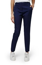 Women's Topshop Premium Tapered Suit Trousers Navy Blue