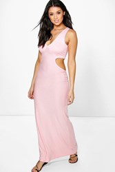 Boohoo Cut Out Side Maxi Dress Peach