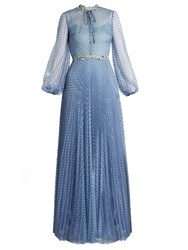 Luisa Beccaria Long Sleeved Point D'esprit Tulle Gown Light Blue