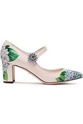 Dolce And Gabbana Woman Crystal Embellished Floral Print Patent Leather Mary Jane Pumps Cream