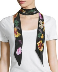 Rockins Floral Super Skinny Silk Scarf Black
