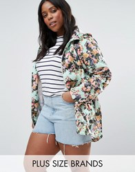 Brave Soul Plus Festival Mac In Floral Print Mint Floral Blue