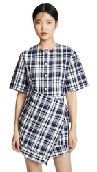 Maison Kitsune Chloe Scarf Dress Navy Check
