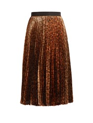 Christopher Kane Leopard Print Pleated Lame Midi Skirt Brown Print