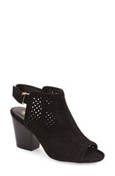 Women's Isol 'Lora' Perforated Open Toe Bootie Sandal Black Suede