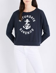 Sundry Anchor Embroidered Cotton Jersey Top Summer Black